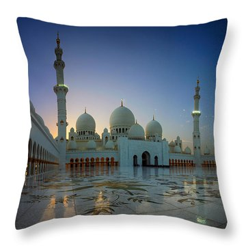 Abu Dhabi Grand Mosque Throw Pillow