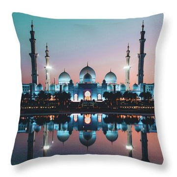Abu Dhabi Mosque Throw Pillow