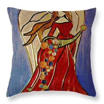 Throw Pillow featuring the mixed media Abundance Angel by AmaS Art