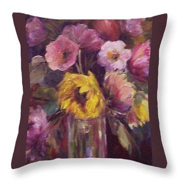 Abundance- Floral Painting Throw Pillow