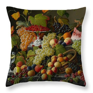 Abundant Fruit Throw Pillow by Severin Roesen