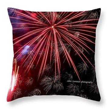 Ac Fireworks Throw Pillow by John Loreaux