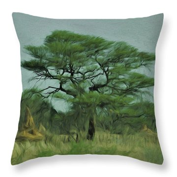 Acacia Tree And Termite Hills Throw Pillow by Ernie Echols