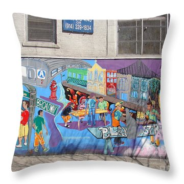 Throw Pillow featuring the photograph Academy Street Mural by Cole Thompson