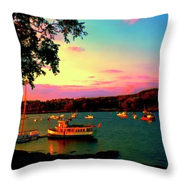Throw Pillow featuring the photograph  Acadia Bar Harbor Sunset Cruises by Tom Jelen