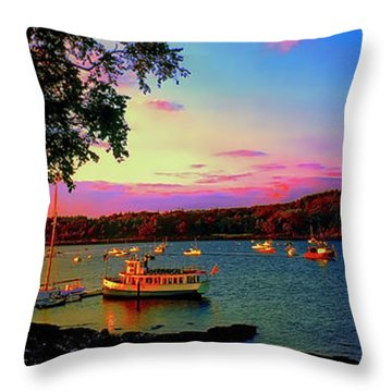 Throw Pillow featuring the photograph  Acadia Bar Harbor Sunset Cruises.tif by Tom Jelen