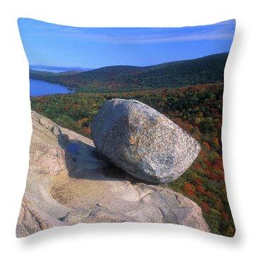 Acadia Bubble Rock Autumn Throw Pillow by John Burk