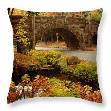 Throw Pillow featuring the photograph Acadia Stone Bridge by Alana Ranney