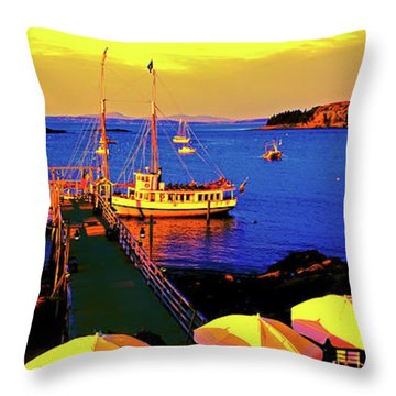 Throw Pillow featuring the photograph Acaida  Bar Harbor  Pier by Tom Jelen