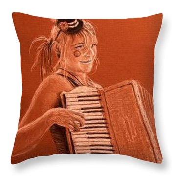 Accordion Girl Throw Pillow by Michael Beckett