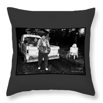 Accordion Scrapper Man  Throw Pillow