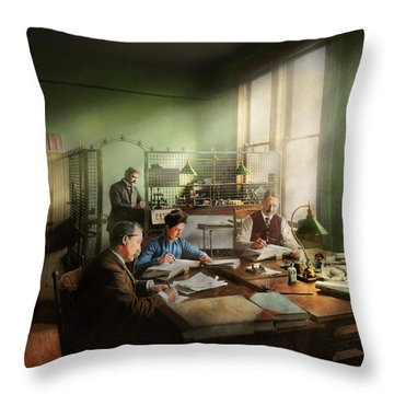Throw Pillow featuring the photograph Accountant - The- Bookkeeping Dept 1902 by Mike Savad