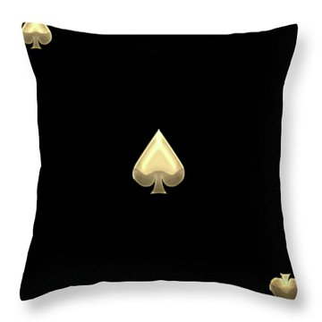 Ace Of Spades In Gold On Black   Throw Pillow