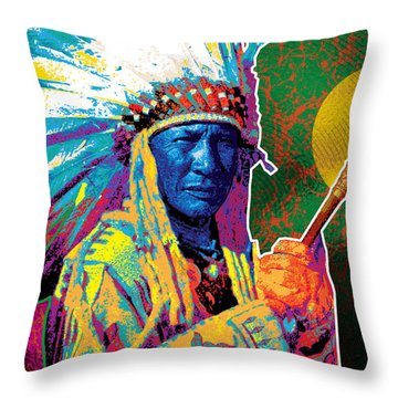Aceca Indian Chief Throw Pillow