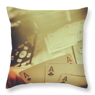 Aces Up The Sleeve Throw Pillow