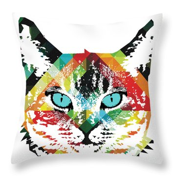 Acid Cat Dream By Robert R Throw Pillow