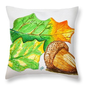 Acorn And Leaves Throw Pillow