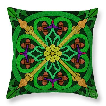 Acorn On Dark Green Throw Pillow