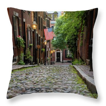 Throw Pillow featuring the photograph Acorn St. Boston Ma. by Michael Hubley