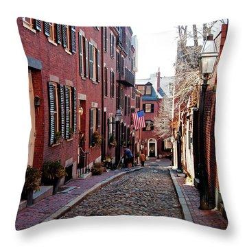 Acorn Street Beacon Hill Throw Pillow