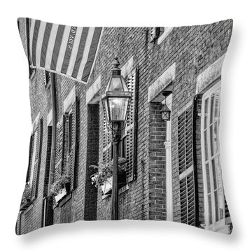 Acorn Street Details Bw Throw Pillow by Susan Candelario