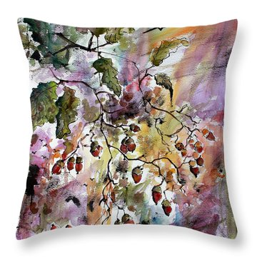 Throw Pillow featuring the painting Acorns Autumn Expression by Ginette Callaway