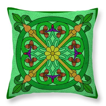 Acorns On Light Green Throw Pillow