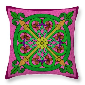 Acorns On Pink Throw Pillow