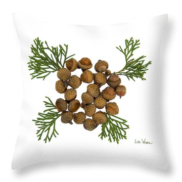 Throw Pillow featuring the digital art Acorns With Cedar by Lise Winne