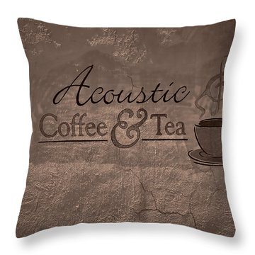 Acoustic Coffee And Tea Signage - 3w Throw Pillow by Greg Jackson