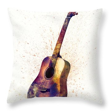 Acoustic Guitar Abstract Watercolor Throw Pillow