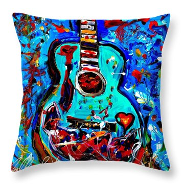 Acoustic Love Guitar Throw Pillow