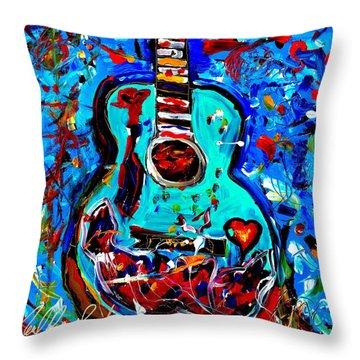 Acoustic Love Guitar Throw Pillow