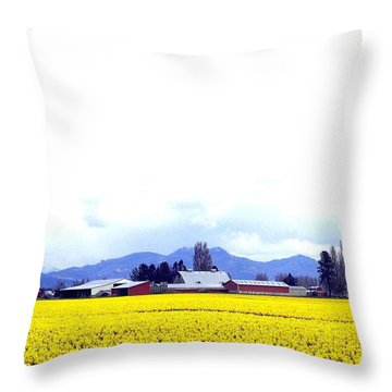 Acres Of Daffodils Throw Pillow by Will Borden