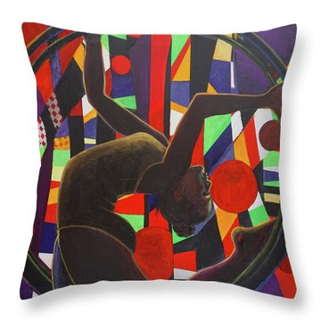 Acrobat In Ring Throw Pillow