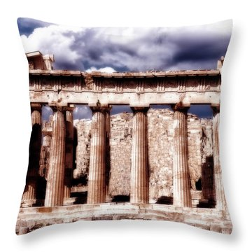 Throw Pillow featuring the photograph Acropolis Of Greece by Linda Constant