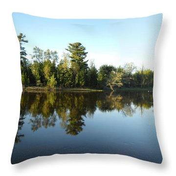 Across And Downstream Mississippi River Throw Pillow by Kent Lorentzen