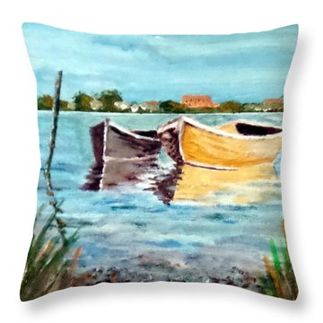 Throw Pillow featuring the painting Across From Mama's by Jim Phillips