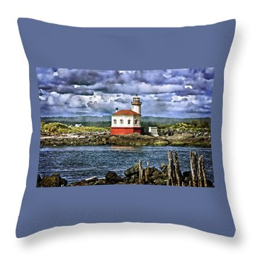 Across From The Coquille River Lighthouse Throw Pillow by Thom Zehrfeld
