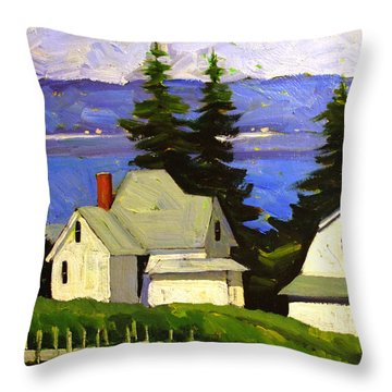 Throw Pillow featuring the painting View Across Lake Shafer by Charlie Spear