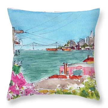 Throw Pillow featuring the painting Across The Bay From Sausalito by Pat Katz