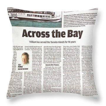 Throw Pillow featuring the painting Toronto Sun Article Across The Bay by Kenneth M Kirsch