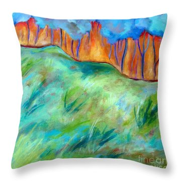 Across The Meadow Throw Pillow by Elizabeth Fontaine-Barr