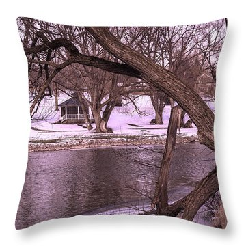 Across The River Throw Pillow by Anne Witmer