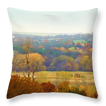 Across The River In Autumn Throw Pillow
