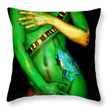 acrylic on FLESH Throw Pillow by Tbone Oliver