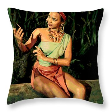 Throw Pillow featuring the mixed media Actress Dorothy Fandridge by Charles Shoup