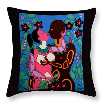Adam And Eve Throw Pillow by Stephanie Moore