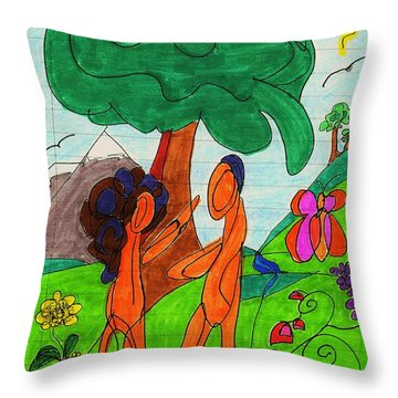 Adam And Eve Throw Pillow by Martin Cline