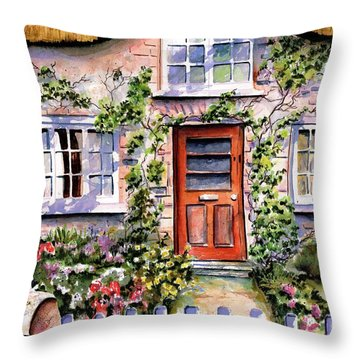 Throw Pillow featuring the painting Adare Ireland Cottage by Marti Green